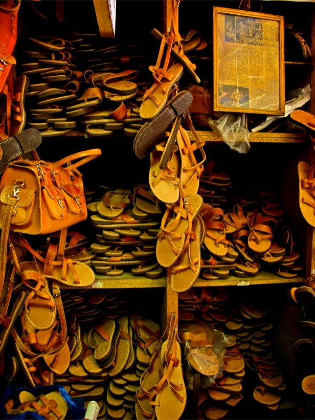 The store has over 25 styles of ancient Greek sandals archived according to size and styles.